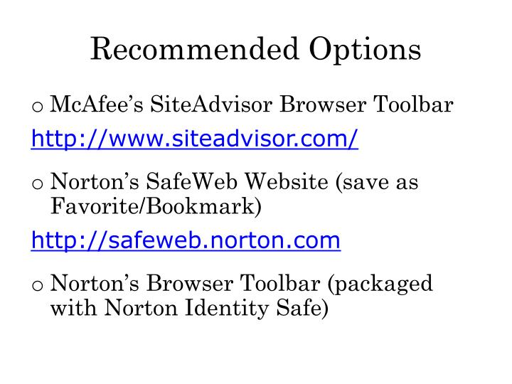 Recommended Options