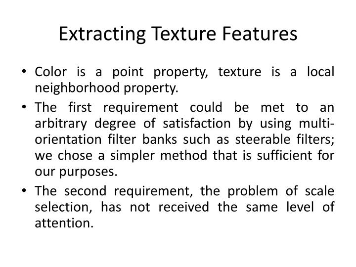 Extracting Texture Features