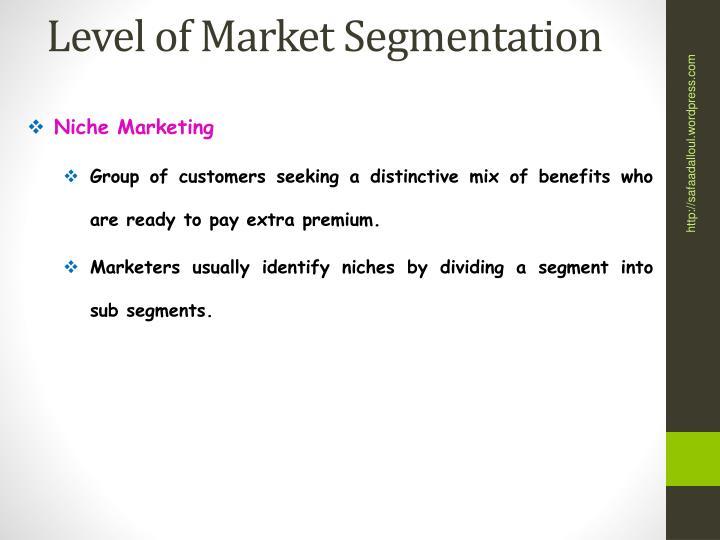 Level of Market Segmentation