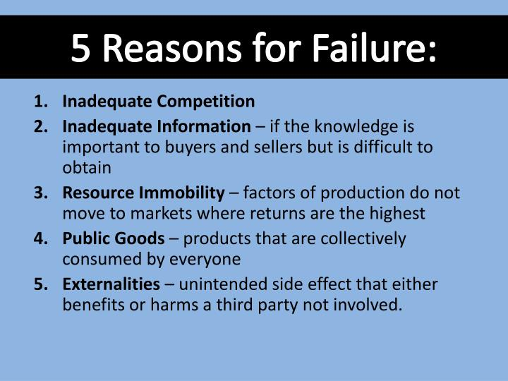 5 Reasons for Failure: