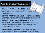 anti monopoly legislation