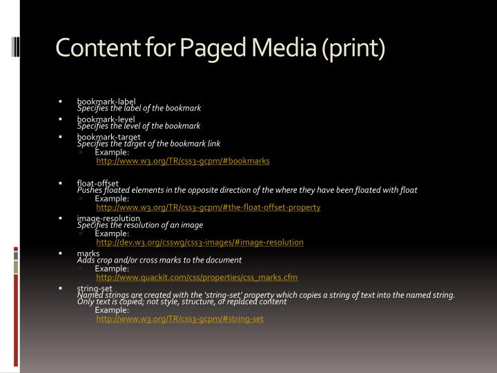 Content for Paged Media (print)