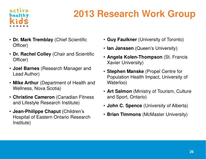 2013 Research Work Group
