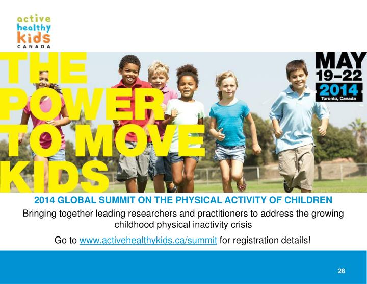 2014 GLOBAL SUMMIT ON THE PHYSICAL ACTIVITY OF CHILDREN