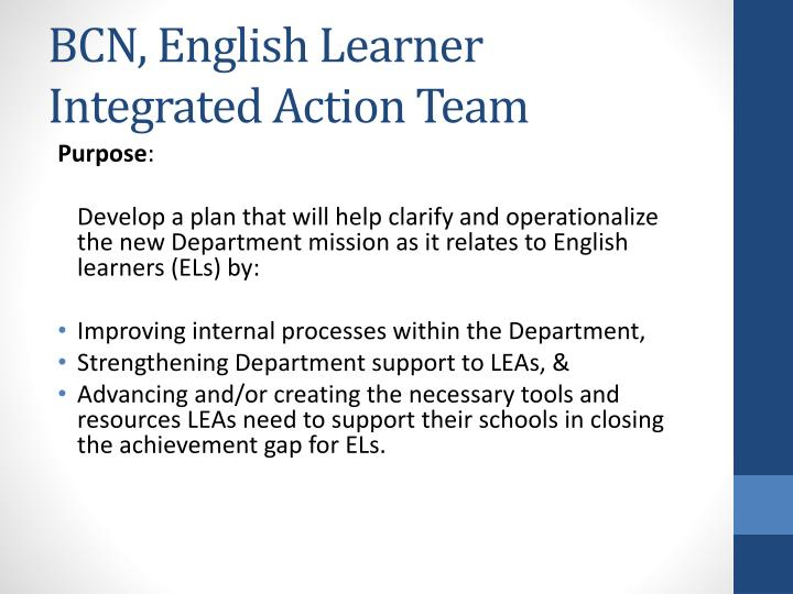 BCN, English Learner Integrated Action