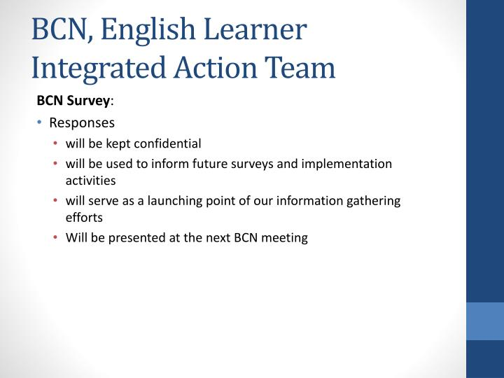 BCN, English Learner Integrated Action Team