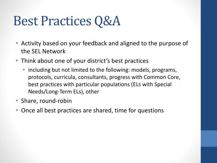 Best Practices Q&A