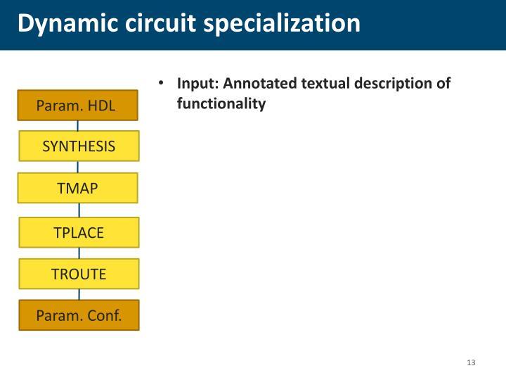 Dynamic circuit specialization