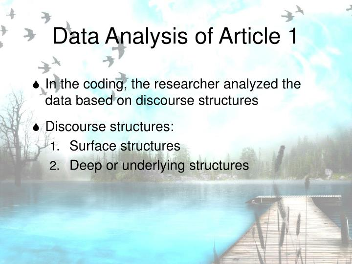 Data Analysis of Article 1