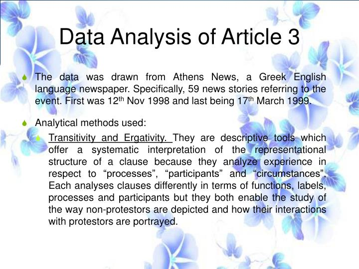 Data Analysis of Article 3