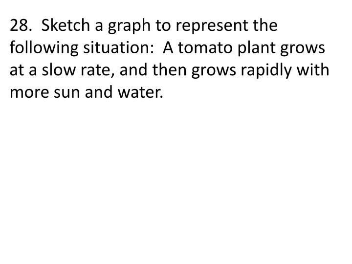 28.  Sketch a graph to represent the following situation:  A tomato plant grows at a slow rate, and then grows rapidly with more sun and water.