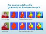 the example defines the granularity of the desired output