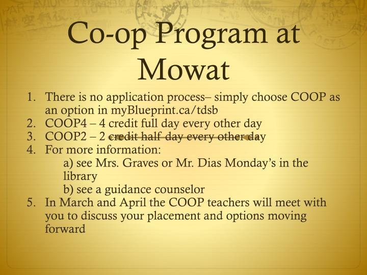 Co-op Program at Mowat