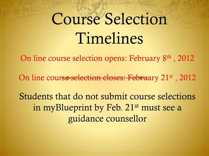 Course Selection Timelines