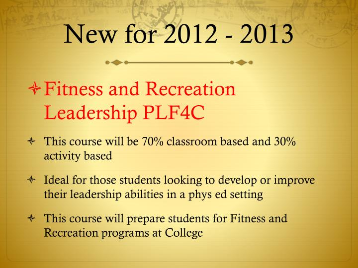 New for 2012 - 2013