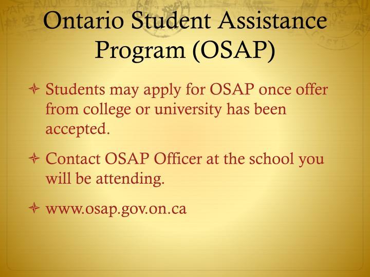 Ontario Student Assistance Program (OSAP)
