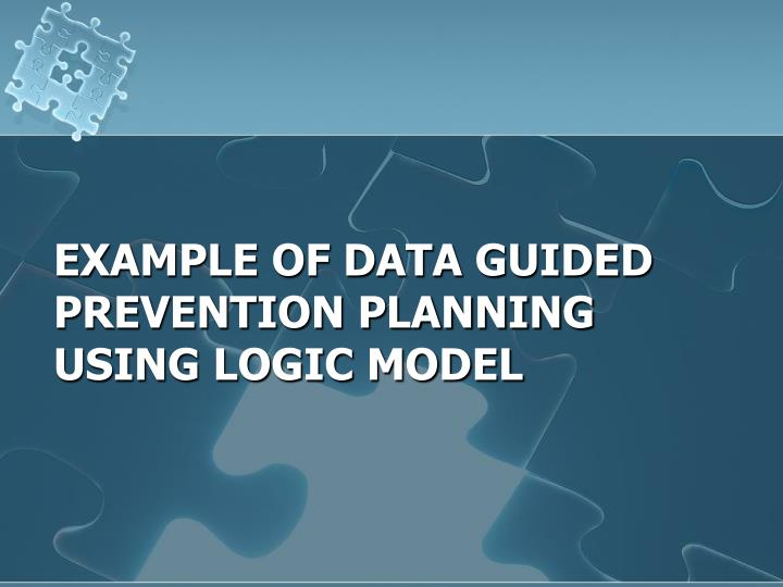 Example of Data Guided Prevention planning using logic model