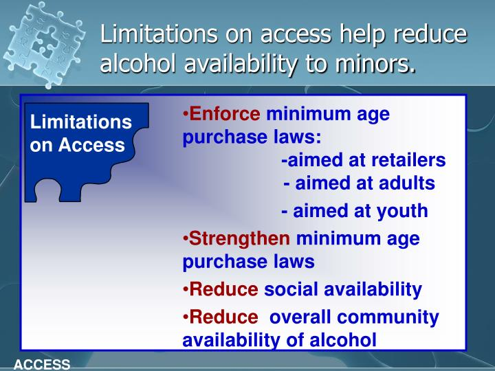 Limitations on access help reduce alcohol availability to minors.