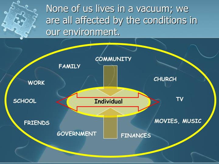 None of us lives in a vacuum; we are all affected by the conditions in our environment.