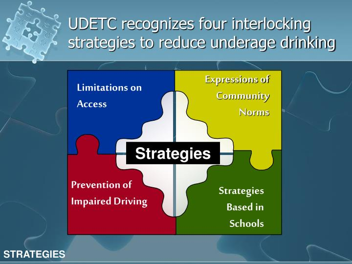 UDETC recognizes four interlocking strategies to reduce underage drinking