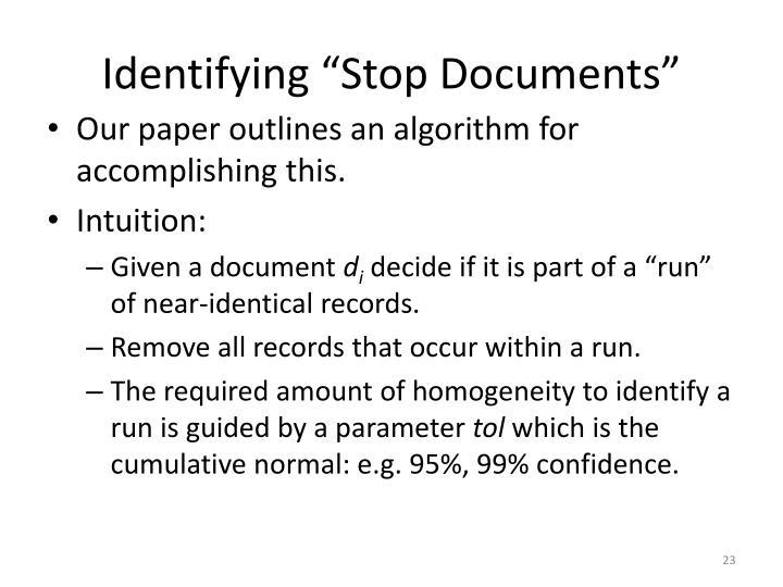 "Identifying ""Stop Documents"""