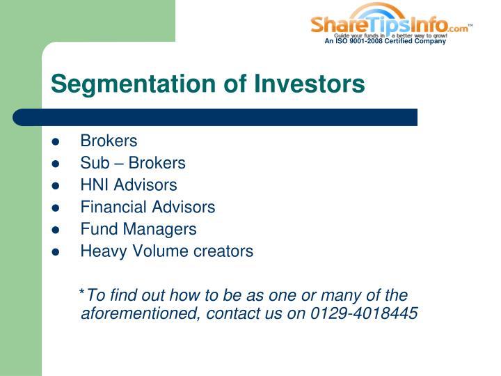 Segmentation of Investors