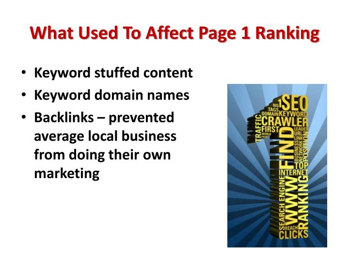 What Used To Affect Page 1 Ranking