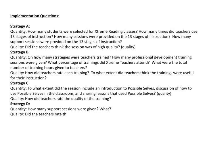 Implementation Questions: