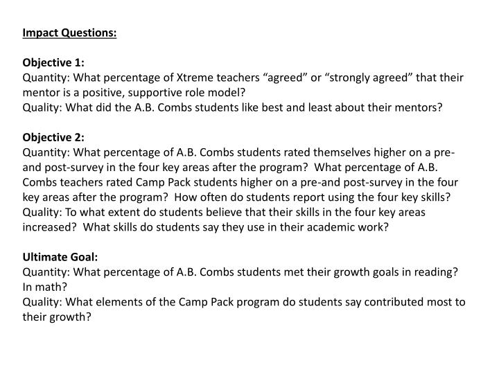 Impact Questions: