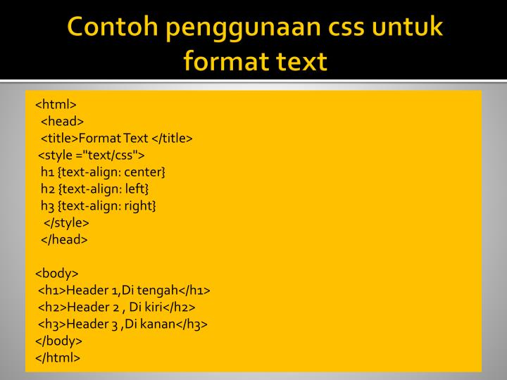 Contoh penggunaan css untuk format text