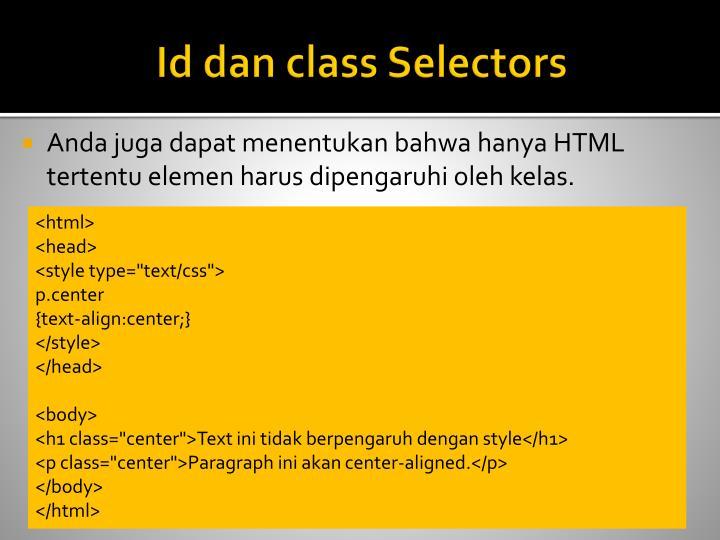 Id dan class Selectors