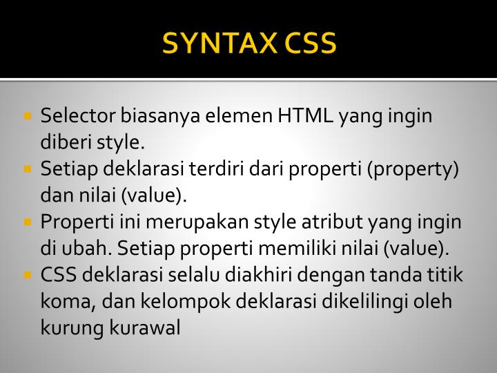 SYNTAX CSS