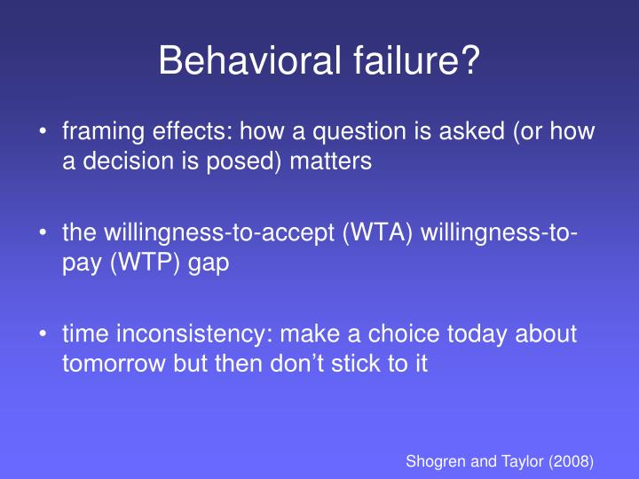 Behavioral failure?