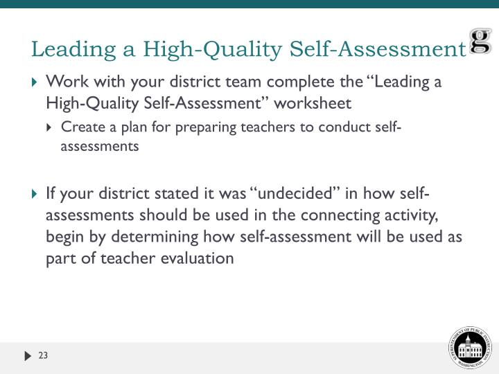 Leading a High-Quality Self-Assessment