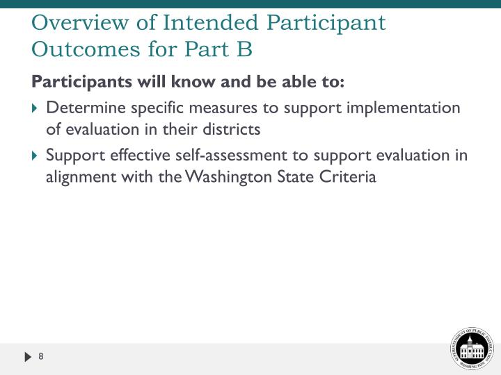 Overview of Intended Participant Outcomes for Part B
