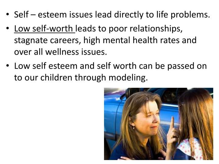 Self – esteem issues lead directly to life problems.
