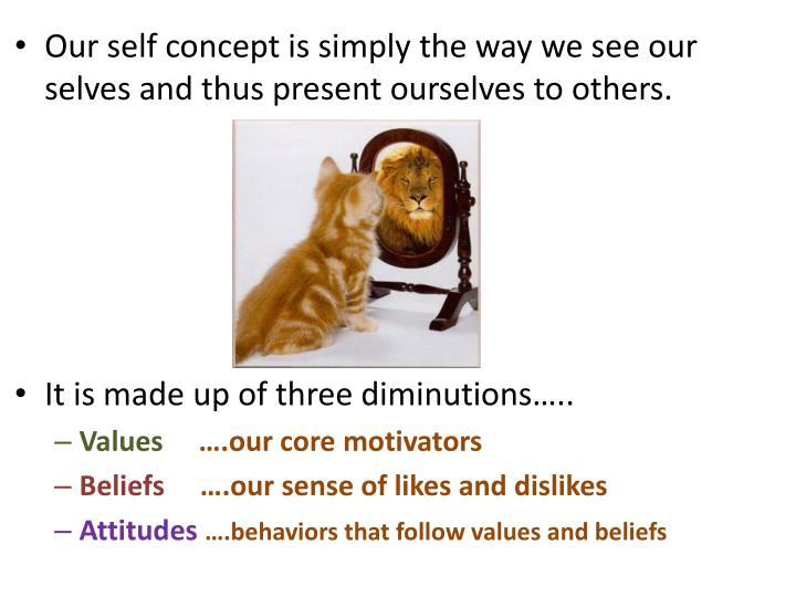 Our self concept is simply the way we see our selves and thus present ourselves to others.