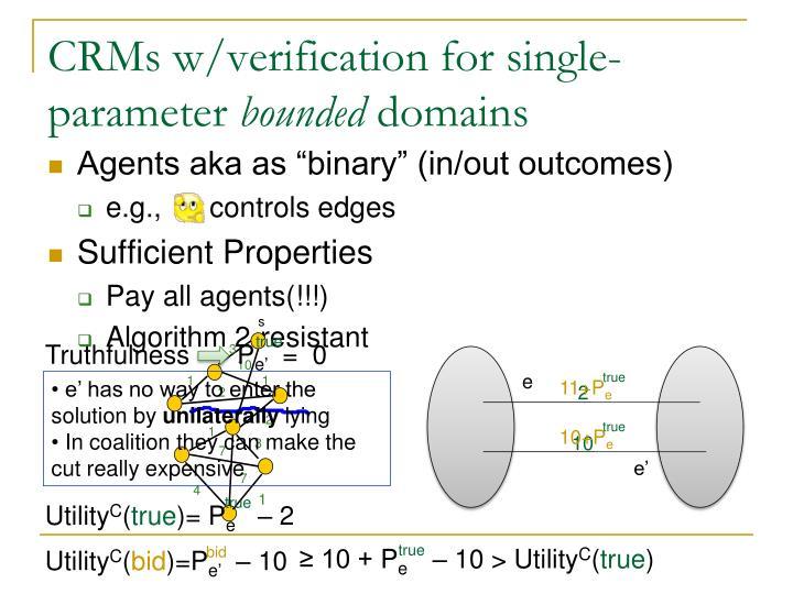 CRMs w/verification for single-parameter