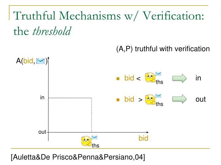 Truthful Mechanisms w/ Verification: the
