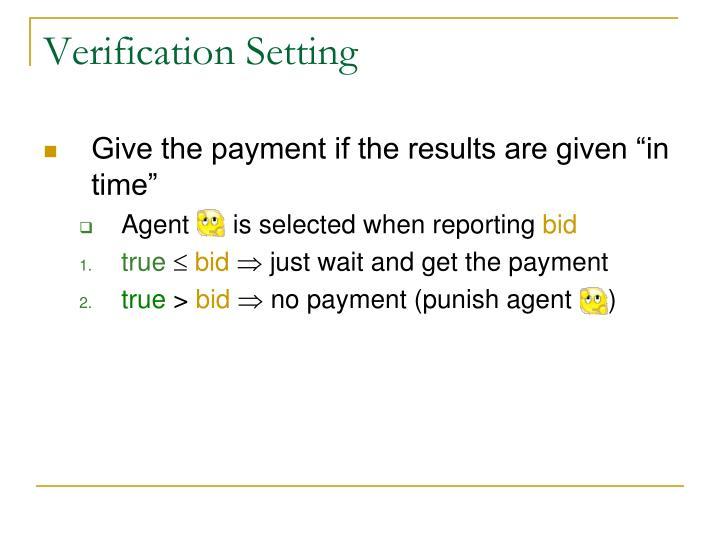Verification Setting