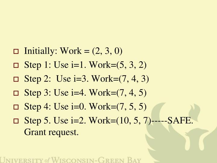 Initially: Work = (2, 3, 0)