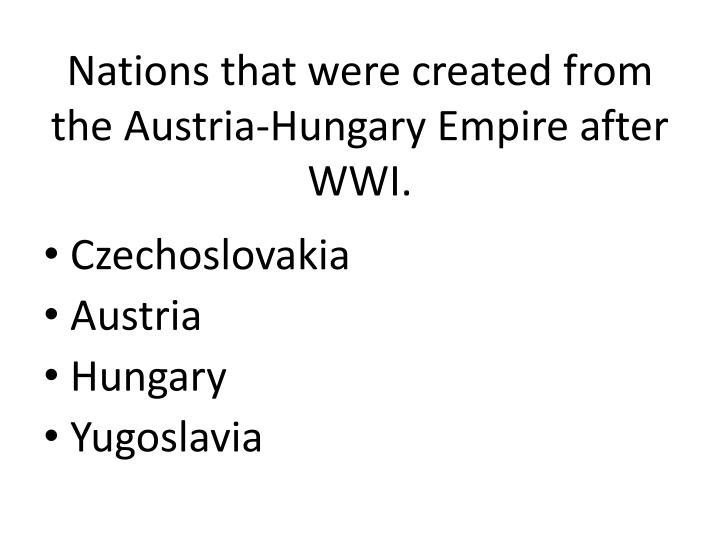 Nations that were created from the Austria-Hungary Empire after WWI.