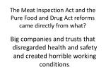 the meat inspection act and the pure food and drug act reforms came directly from what
