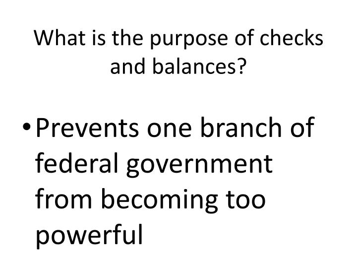 What is the purpose of checks and balances?