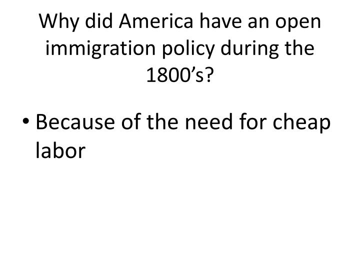 Why did America have an open immigration policy during the 1800's?