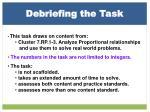 debriefing the task