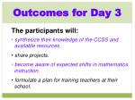 outcomes for day 3