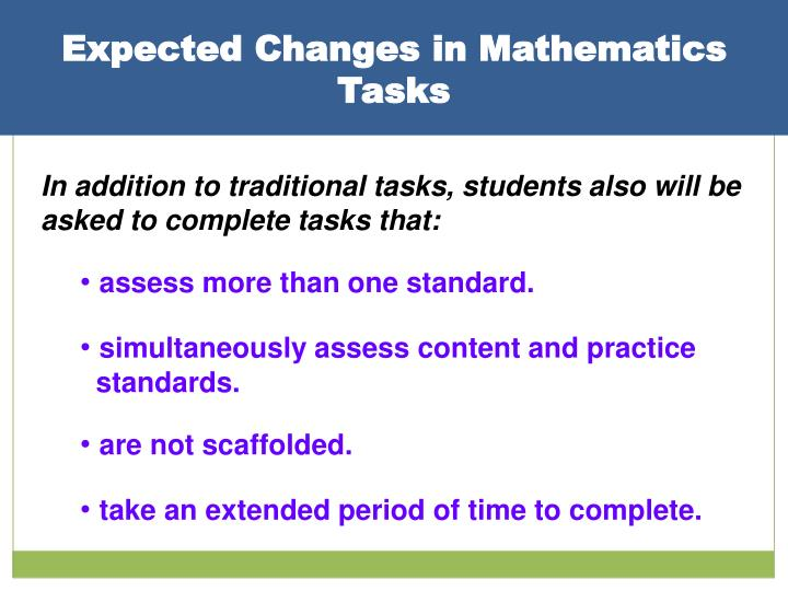 Expected Changes in Mathematics Tasks