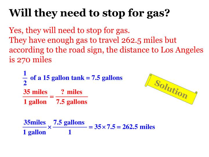 Will they need to stop for gas?