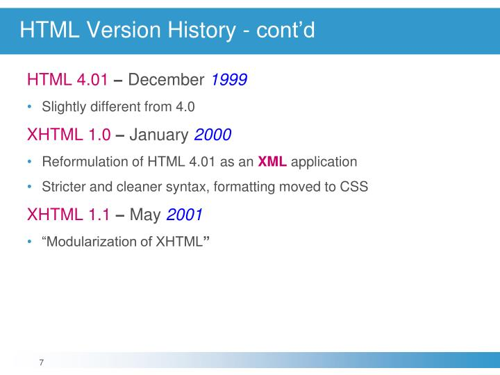 HTML Version History - cont'd